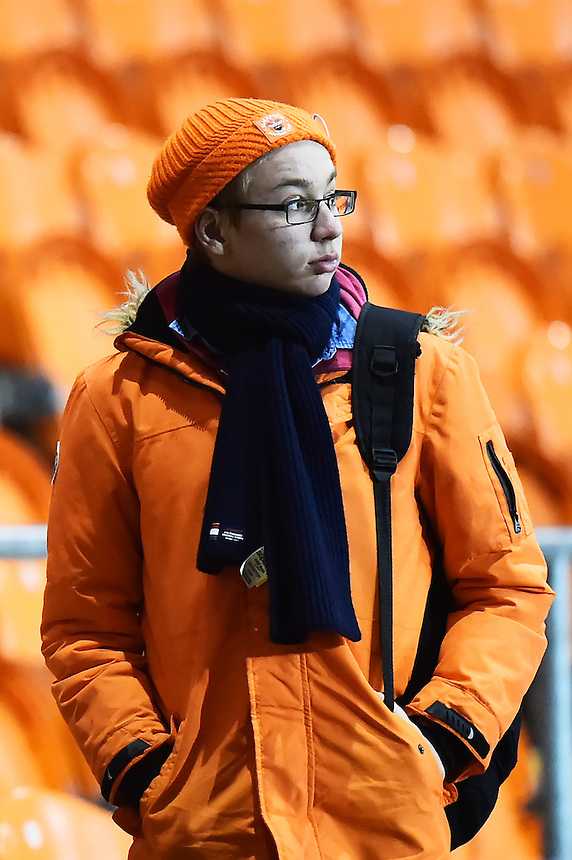A Blackpool fan looks on<br /> <br /> Photographer Richard Martin-Roberts/CameraSport<br /> <br /> The EFL Sky Bet League Two - Blackpool v Crawley Town - Tuesday 7th February 2017 - Bloomfield Road - Blackpool<br /> <br /> World Copyright &copy; 2017 CameraSport. All rights reserved. 43 Linden Ave. Countesthorpe. Leicester. England. LE8 5PG - Tel: +44 (0) 116 277 4147 - admin@camerasport.com - www.camerasport.com