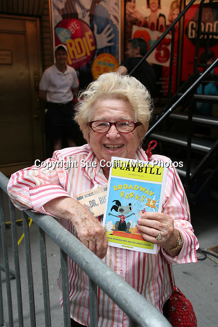 """Dr. Ruth at Broadway Barks 11 - a """"Pawpular"""" star-studded dog and cat adopt-a-thon on July 11, 2009 in Shubert Alley, New York City, NY. (Photo by Sue Coflin/Max Photos)"""