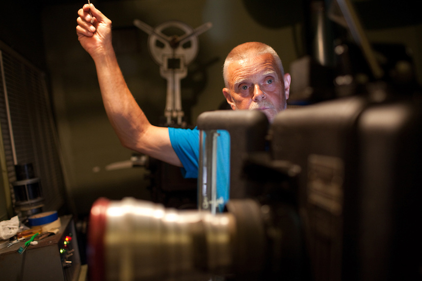 Harold Jett, projectionist, sets the movie film at Family Drive-In Theatre in Stephens City, Virginia on July 20, 2013. CREDIT: Lance Rosenfield/Prime