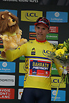 Dylan Teuns (BEL) Bahrain-Merida wins Stage 2 and takes over the race leaders Yellow Jersey of the Criterium du Dauphine 2019, running 180km from Mauriac to Craponne-sur-Arzon, France. 9th June 2019<br /> Picture: Colin Flockton | Cyclefile<br /> All photos usage must carry mandatory copyright credit (© Cyclefile | Colin Flockton)