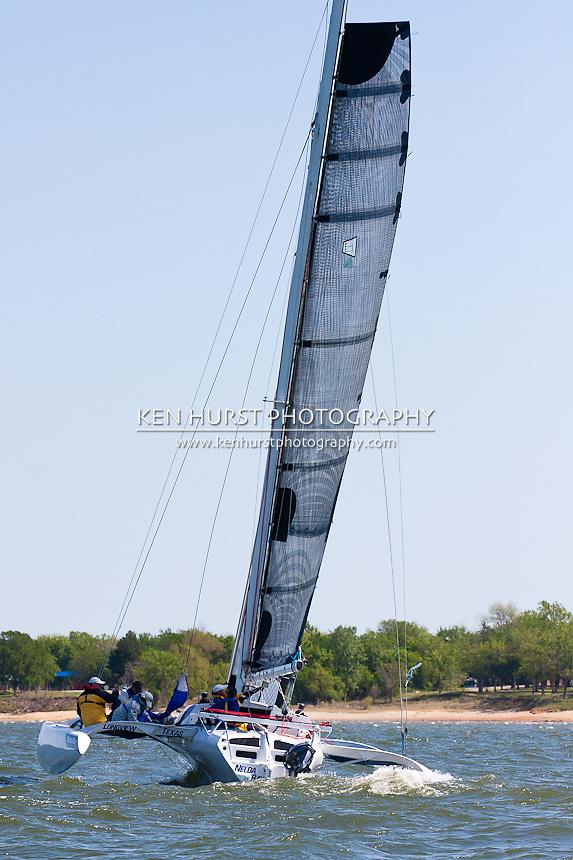 Nelda Ray, a Farrier 33R, racing at Texoma Sailing Club Lakefest Regatta 2011, 25th annual charity regatta at Lake Texoma, Denison, Texas.