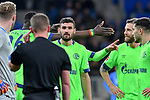 01.12.2018, wirsol Rhein-Neckar-Arena, Sinsheim, GER, 1 FBL, TSG 1899 Hoffenheim vs FC Schalke 04, <br /> <br /> DFL REGULATIONS PROHIBIT ANY USE OF PHOTOGRAPHS AS IMAGE SEQUENCES AND/OR QUASI-VIDEO.<br /> <br /> im Bild: Schiedsrichter Dr. Robert Kampka haelt Ruecksprache mit dem Videoassistenten in Koeln, Daniel Caligiuri (FC Schalke 04 #18) schaut gespannt zu<br /> <br /> Foto &copy; nordphoto / Fabisch