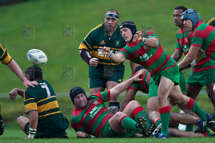 Heinie Fourie gets the pass away from a ruck. Counties Manukau McNamara Cup Premier Club Rugby final between Pukekohe andWaiuku, held at Bayer Growers Stadium, on Saturday July 17th. Waiuku won 25 - 20.