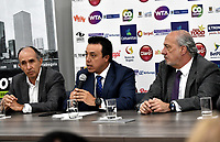 BOGOTA – COLOMBIA, 20-03-2019: David Samudio (Izq.) Presidente de la Federación Colombiana de Tenis, Orlando Merlano (Cent..); Director del Instituto Distrital para la Recreación y el Deporte (IDRD); Ignacio Correa Sebastián (Der.), Presidente de Colsanitas; durante la presentación del Claro Colsanitas WTA 2019 de tenis en el auditorio Adolfo Carvajal, en Coldeportes, torneo que se realizará en las canchas del Carmel Club en la ciudad de Bogotá del 6 al 14 de abril de 2019. / David Samudio (L) President of the Colombian Tennis Federation, Orlando Merlano (C); Director of the District Institute for Recreation and Sports (IDRD); Ignacio Correa Sebastian (R), President of Colsanitas;during the presentation of the Claro Colsanitas WTA 2019 tennis in the auditorium Adolfo Carvajal, in Coldeportes, tournament to be held in the courts of the Carmel Club in the city of Bogotá from April 6 to 14 de 2019. / Photo: VizzorImage / Luis Ramírez / Staff.