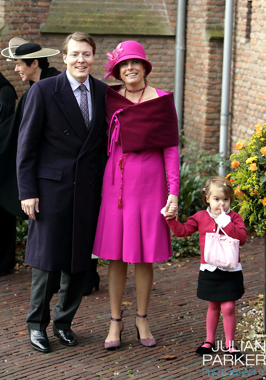 Prince Constantijn, Princess Laurentien & daughter Eloise attend the Christening of Crown Prince Willem-Alexander & Crown Princess Maxima's daughter Princess Alexia at the Dorpskerk in Wassenaar..