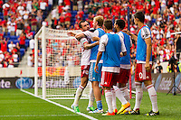 Jonny Steele (22) of the New York Red Bulls celebrates scoring with goalkeeper Ryan Meara (18). The New York Red Bulls defeated the Houston Dynamo 2-0 during a Major League Soccer (MLS) match at Red Bull Arena in Harrison, NJ, on June 30, 2013.