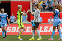 Bridgeview, IL - Sunday June 04, 2017: Megan Rapinoe, Alyssa Naeher during a regular season National Women's Soccer League (NWSL) match between the Chicago Red Stars and the Seattle Reign FC at Toyota Park. The Red Stars won 1-0.
