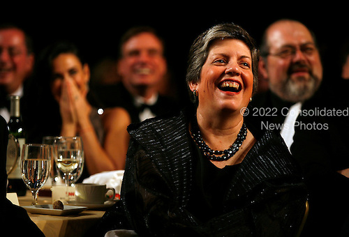 Washington, DC - May 9, 2009 -- United States Secretary of Homeland Security Janet Napolitano reacts to U.S. President Barack Obama's speech at  the annual White House Correspondents' Association gala dinner at the Washington Hilton Hotel, Washington, DC, Saturday, May 9, 2009..Credit: Martin H. Simon - Pool via CNP