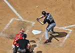 22 June 2014: Atlanta Braves outfielder Jordan Schafer in action against the Washington Nationals at Nationals Park in Washington, DC. The Nationals defeated the Braves 4-1 to split their 4-game series and take sole possession of first place in the NL East. Mandatory Credit: Ed Wolfstein Photo
