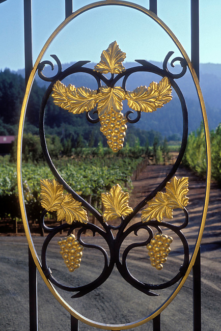 Entrance gate to Paoletti winery near Calistoga