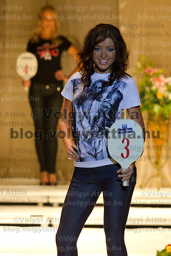 Anett Gyorfi attends the Miss Hungary 2010 beauty contest held in Budapest, Hungary on November 29, 2010. ATTILA VOLGYI