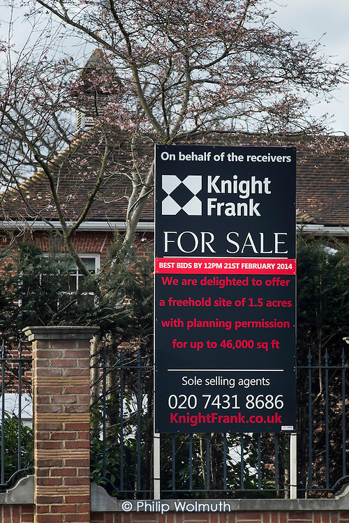 For Sale.  One of a large number of empty mansions in The Bishops Avenue in north London.  Many houses in the street, also known as Billionaire's Row, have been left vacant by their mostly overseas owners.