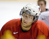 Mike Hoeffel (US White - 17) - US players take part in practice on Friday morning, August 8, 2008, in the NHL Rink during the 2008 US National Junior Evaluation Camp and Summer Hockey Challenge in Lake Placid, New York.