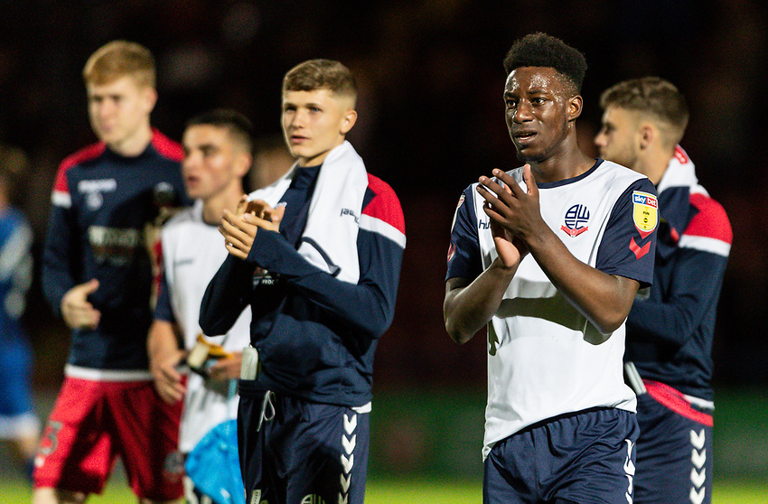 Bolton Wanderers' De'Marlio Brown-Sterling applauds the travelling fans at the end of the match<br /> <br /> Photographer Andrew Kearns/CameraSport<br /> <br /> The Carabao Cup First Round - Rochdale v Bolton Wanderers - Tuesday 13th August 2019 - Spotland Stadium - Rochdale<br />  <br /> World Copyright © 2019 CameraSport. All rights reserved. 43 Linden Ave. Countesthorpe. Leicester. England. LE8 5PG - Tel: +44 (0) 116 277 4147 - admin@camerasport.com - www.camerasport.com
