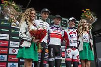 podium ceremony:<br /> 1. Mathieu van der Poel (NED/Beobank Corendon)<br /> 2. Wout Van Aert (BEL/Crelan Charles)<br /> 3. Laurens Sweeck (BEL/Era Circus)<br /> <br /> cx Telenet Superprestige Gieten 2017 (NED)