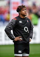 Anthony Watson of England looks on during the pre-match warm-up. Natwest 6 Nations match between France and England on March 10, 2018 at the Stade de France in Paris, France. Photo by: Patrick Khachfe / Onside Images