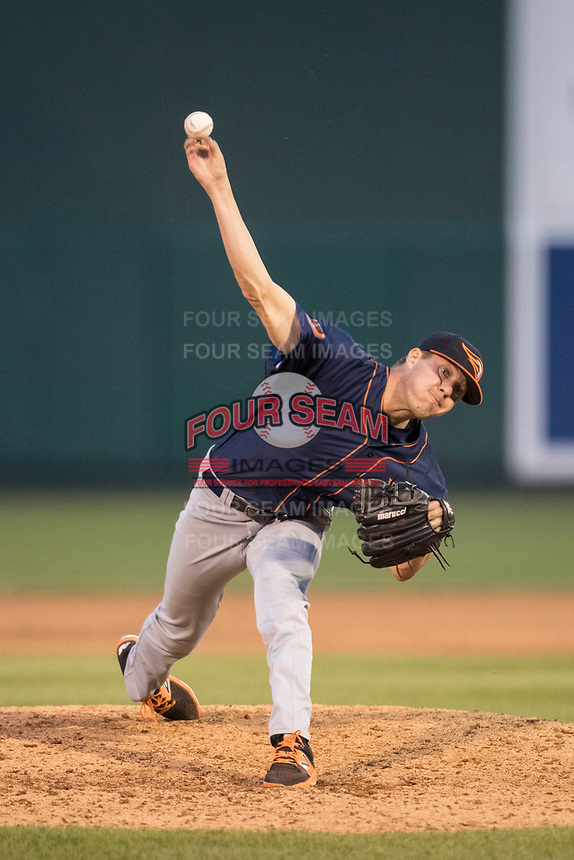 Bowling Green Hot Rods pitcher Peter Bayer (21) delivers a pitch to the plate during the Midwest League baseball game against the Lansing Lugnuts on June 29, 2017 at Cooley Law School Stadium in Lansing, Michigan. Bowling Green defeated Lansing 11-9 in 10 innings. (Andrew Woolley/Four Seam Images)