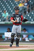 Indianapolis Indians catcher Jackson Williams (31) on defense against the Charlotte Knights at BB&T BallPark on August 22, 2018 in Charlotte, North Carolina.  The Indians defeated the Knights 6-4 in 11 innings.  (Brian Westerholt/Four Seam Images)