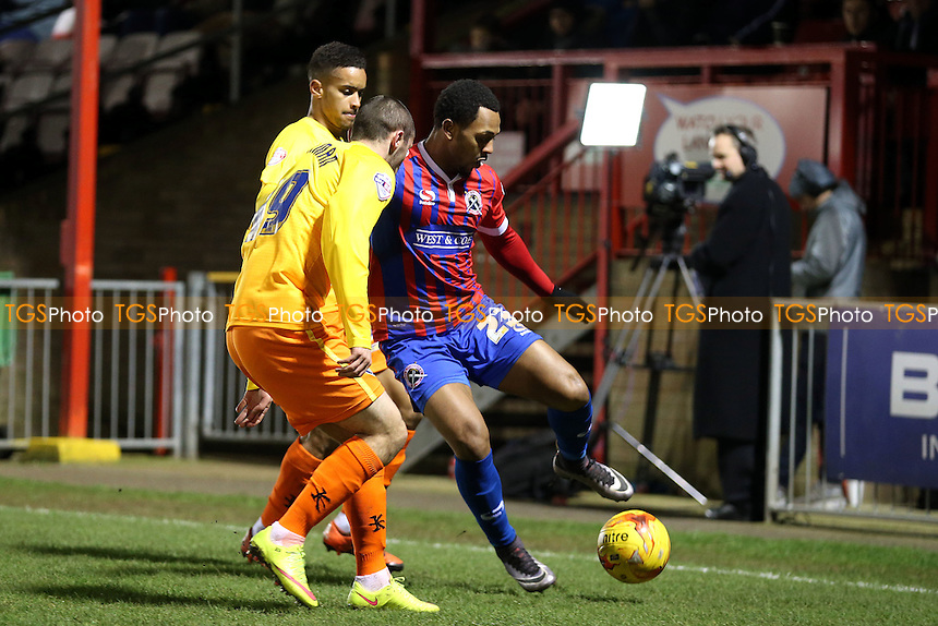 Ashley Hemmings of Dagenham and Redbridge and Michael Harriman of Wycombe Wanderers during Dagenham and Redbridge vs Wycombe Wanderers, Sky Bet League 2 Football at the Chigwell Construction Stadium