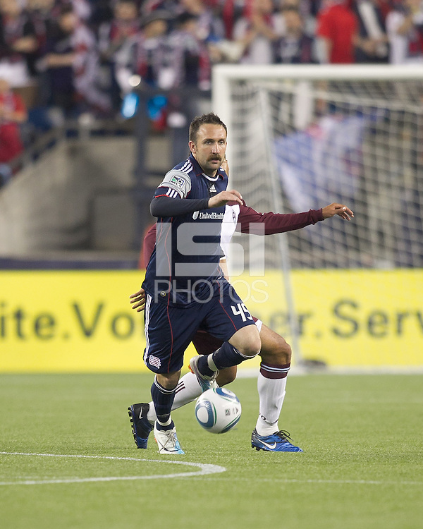 New England Revolution defender Ryan Cochrane (45) intercepts pass. In a Major League Soccer (MLS) match, the New England Revolution tied the Colorado Rapids, 0-0, at Gillette Stadium on May 7, 2011.