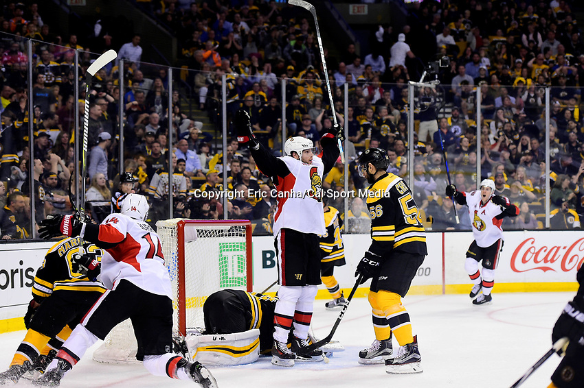 Monday, April 17, 2017: Ottawa Senators right wing Bobby Ryan (9) celebrates his overtime goal on Boston Bruins goalie Tuukka Rask (40) during game 3 of round one of the National Hockey League Eastern Conference Stanley Cup Playoffs between the Ottawa Senators and the Boston Bruins, held at TD Garden, in Boston, Mass. Ottawa defeats Boston 4-3 in overtime and leads the series 2-1. Eric Canha/CSM