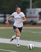Sky Blue FC defender Caitlin Foord (4) dribbles down the wing. In a National Women's Soccer League Elite (NWSL) match, Sky Blue FC (white) defeated the Boston Breakers (blue), 3-2, at Dilboy Stadium on June 16, 2013.