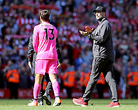 Liverpool manager Jurgen Klopp shows his appreciation to the fans at the final whistle<br /> <br /> Photographer Rich Linley/CameraSport<br /> <br /> The Premier League - Liverpool v Wolverhampton Wanderers - Sunday 12th May 2019 - Anfield - Liverpool<br /> <br /> World Copyright © 2019 CameraSport. All rights reserved. 43 Linden Ave. Countesthorpe. Leicester. England. LE8 5PG - Tel: +44 (0) 116 277 4147 - admin@camerasport.com - www.camerasport.com