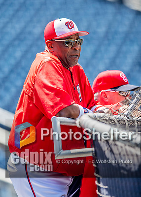 29 June 2017: Washington Nationals Manager Dusty Baker watches batting practice prior to a game against the Chicago Cubs at Nationals Park in Washington, DC. The Cubs rallied against the Nationals to win 5-4 and split their 4-game series. Mandatory Credit: Ed Wolfstein Photo *** RAW (NEF) Image File Available ***