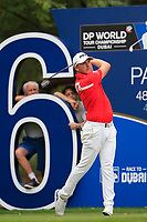 Matt Wallace (ENG) on the 16th tee during the 3rd round of the DP World Tour Championship, Jumeirah Golf Estates, Dubai, United Arab Emirates. 17/11/2018<br /> Picture: Golffile | Fran Caffrey<br /> <br /> <br /> All photo usage must carry mandatory copyright credit (© Golffile | Fran Caffrey)