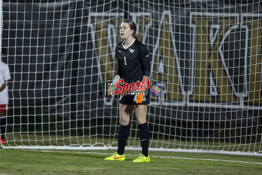 Lindsay Preston (1) of the Wake Forest Demon Deacons during second half action against the Louisville Cardinals at Spry Soccer Stadium on October 31, 2015 in Winston-Salem, North Carolina.  The Demon Deacons defeated the Cardinals 2-1.  (Brian Westerholt/Sports On Film)