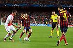 UEFA Champions League 2013/2014.<br /> FC Barcelona vs AFC Ajax: 4-0 - Game: 1.<br /> Van Rhijn vs Andres Iniesta.