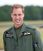 Prince William attends a photocall during his training at RAF Shawbury, Nr Shrewsbury