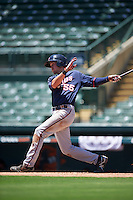 GCL Twins third baseman Aaron Whitefield (55) at bat during a game against the GCL Orioles on August 11, 2016 at the Ed Smith Stadium in Sarasota, Florida.  GCL Twins defeated GCL Orioles 4-3.  (Mike Janes/Four Seam Images)