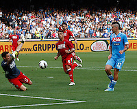 Marek Hamsik of napoli shoots to score against Siena during their Italian Serie A soccer match at the San Paolo stadium in Naples.