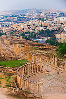 Oval Plaza and The Colonnaded Street, Greco-Roman ruins, Jerash, Jordan.