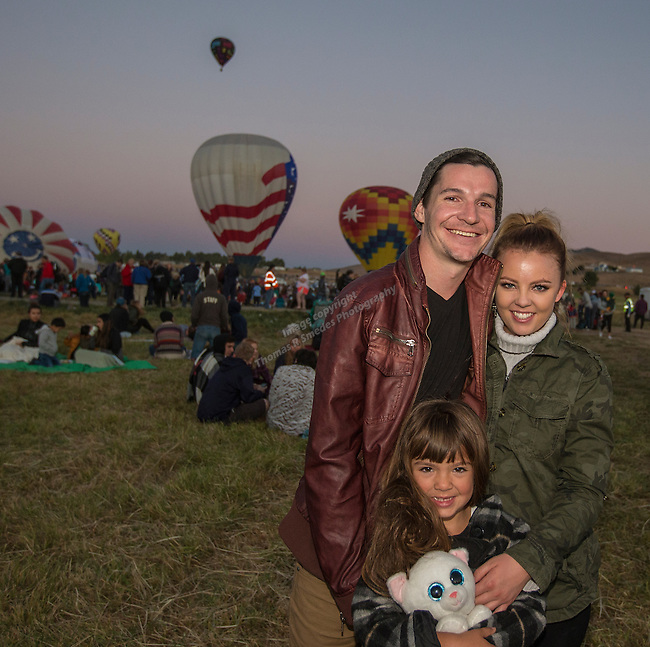 Jenna Peterson, 5 year old Presley and Jerad Caudle at the Great Reno Balloon Races held on Saturday, Sept. 10, 2016.