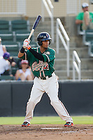 Yefri Perez (12) of the Greensboro Grasshoppers at bat against the Kannapolis Intimidators at CMC-NorthEast Stadium on August 31, 2014 in Kannapolis, North Carolina.  The Grasshoppers defeated the Intimidators 3-1.  (Brian Westerholt/Four Seam Images)