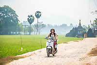 Exploring caves around Hpa An by Moped, at Kaw Ka Thawng Caves, Kayin State, Myanmar (Burma)