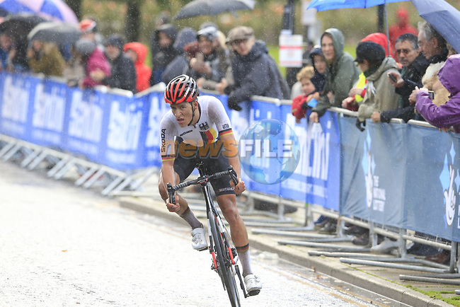 Georg Zimmermann (GER) on the Harrogate circuit during the Men U23 Road Race of the UCI World Championships 2019 running 186.9km from Doncaster to Harrogate, England. 27th September 2019.<br /> Picture: Eoin Clarke | Cyclefile<br /> <br /> All photos usage must carry mandatory copyright credit (© Cyclefile | Eoin Clarke)