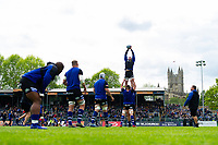 Sam Underhill of Bath Rugby wins the ball at a lineout during the pre-match warm-up. Gallagher Premiership match, between Bath Rugby and Wasps on May 5, 2019 at the Recreation Ground in Bath, England. Photo by: Patrick Khachfe / Onside Images