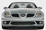 Straight front view of a Mercedes Benz SLK Class sports car