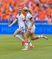 LYON,  - JULY 7: Morgan Brian #6 and Lindsey Horan #9 celebrate during a game between Netherlands and USWNT at Stade de Lyon on July 7, 2019 in Lyon, France.