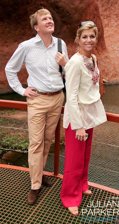 Crown Prince Willem-Alexander & Crown Princess Maxima of the Netherlands six-day tour of Australia..Visit to the Uluru-Kata Tjuta Cultural Centre & the Mutitjulu Waterhole at Ayers Rock..