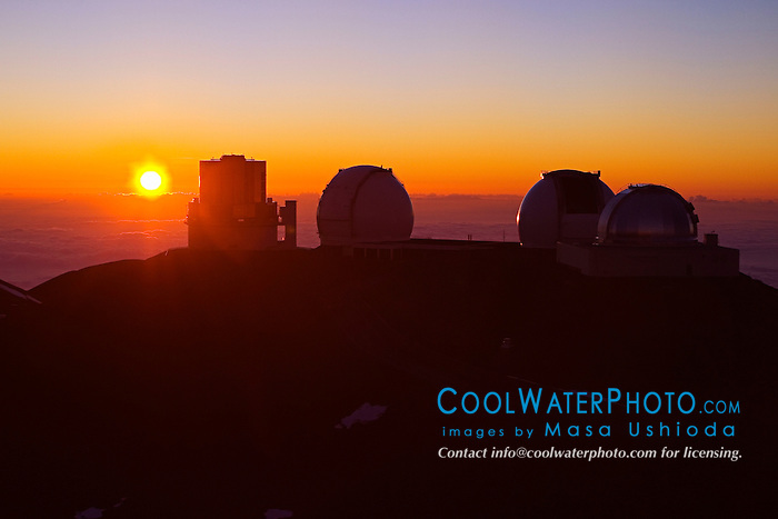 Subaru Telescope, W. M. Keck Observatory, NASA Infrared Telescope Facility or IRTF at sunset, Mauna Kea Observatories, Big Island, Hawaii