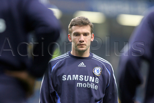 26 December 2006: Portrait of Chelsea striker Andriy Shevchenko deep in thought before the Premiership game between Chelsea and Reading, played at Stamford Bridge. The game finished 2-2. Photo: Actionplus....061226 football soccer player