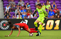Orlando, FL - Saturday October 14, 2017: Nadia Nadim, Katelyn Rowland during the NWSL Championship match between the North Carolina Courage and the Portland Thorns FC at Orlando City Stadium.