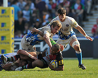 London, England. Jordan Turner-Hall of Harlequins tackled during the Aviva Premiership match between Harlequins and Bath Rugby at Twickenham Stoop on March 24, 2012 in Twickenham, England.