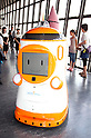 "August 01 2012, Tokyo, Japan - The new robot guide ""Tawabo"" which name was elected by popular vote. Tokyo Tower implemented the new robot guide which name is ""Tawabo"", the first indoor robot guide in Japan. It can speak Japanese, English, Chinese and Korean, it weights 200kg and it is 160cm tall."