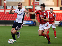 Bolton Wanderers' Aaron Wilbraham competing with Crewe Alexandra's Ryan Wintle .<br /> <br /> Photographer Andrew Kearns/CameraSport<br /> <br /> The Carabao Cup - Crewe Alexandra v Bolton Wanderers - Wednesday 9th August 2017 - Alexandra Stadium - Crewe<br />  <br /> World Copyright &copy; 2017 CameraSport. All rights reserved. 43 Linden Ave. Countesthorpe. Leicester. England. LE8 5PG - Tel: +44 (0) 116 277 4147 - admin@camerasport.com - www.camerasport.com