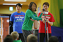(L-R) Atsuhiro Miura, Tsuyoshi Kitazawa, Kento Kato, MARCH 5, 2015 : Tokyo 2020 Organising Committee holds a promotion event for the Tokyo 2020 Paralympic games at Tokyo International School in Tokyo, Japan. This event took place 2000 days before the Tokyo 2020 Paralympic games. (Photo by Yusuke Nakanishi/AFLO SPORT)